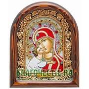 Золотошвейные мастерские, Дивеево Владимирская Богородица, дивеевская икона ручной работы из бисера Высота иконы 17 см фото