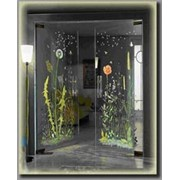 Двери с рисунком, выполненным керамическими красками фото