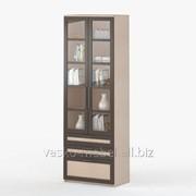 Шкаф 2-дверный с ящиками Соло 054 Корпус дуб молочный, фасад венге/дуб молочный/стекло фото