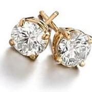 Серьги золотые гвоздики с бриллиантами SI1/G 1.20Ct фото