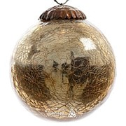 Шар винтажный, 100 мм, состаренное золото, стекло (Kaemingk) фото