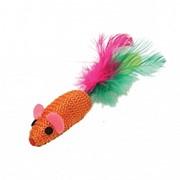 Игрушка д/к Когтеточка мышь цветная с перьями 2,25см 27754647 фото