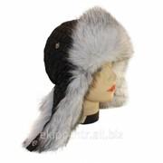 Черная шапка ушанка для женщины, стёганка ромбиком, мех Песец фото