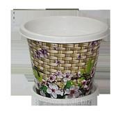Горшок для цветов из пластика Плетенка фото