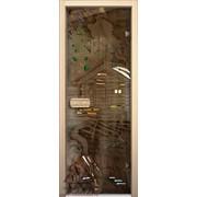 Дверь для бани АКМА АРТ с Фьюзингом ПЕЙЗАЖ 7х19 (коробка липа) фотография
