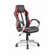 Кресло компьютерное Halmar ROADSTER (черно-бело-красный) фото