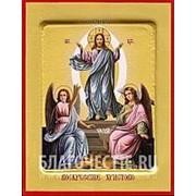 Храм Покрова Богородицы Воскресение Христово, икона на сусальном золоте (гладкий МДФ 6 мм без ковчега) Высота иконы 10 см фото