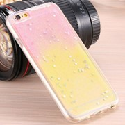 Чехол силиконовый Sand-art для iPhone 6/6S Star 2 Color Pink/Yellow фото