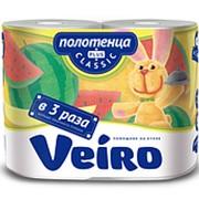 Полотенца бумажные Linia Veiro Classic белые 2-сл. 2шт (х4) фото