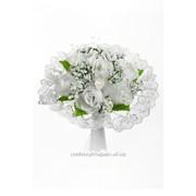Букет для невесты №08, белый (роза текстиль) фото