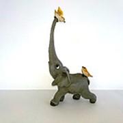 Сувенир Слон и птицы, 18,5 см фото