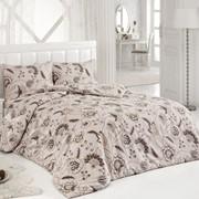 Комплект постельного белья Orlena Бежево-коричневый, сатин, 100% хлопок, евро фото