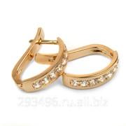Серьги золотые с белыми фианитами (кольцо 51-06) фото