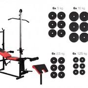 Скамья штанга гантели Hop-Sport набор 128 кг (HS-1070 + тяга + парта битумные) фото