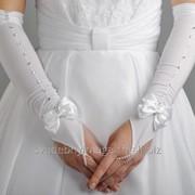 Перчатки свадебные №201, белый (средней длины) фото