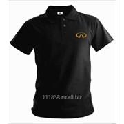 Рубашка поло Infiniti черная вышивка золото фото