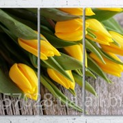 Модульна картина на полотні Жовті тюльпани код КМ100200(200)-137 фото