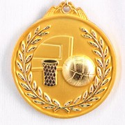 Медаль рельефная Баскетбол золото фото