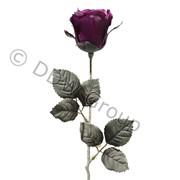 Декор Роза-бутон из шелка на стебле фиолетовая фото