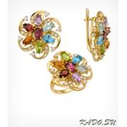 Кольцо и серьги с цветными природными камнями, арт. 1615 фото