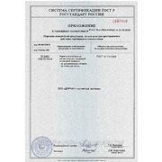 Приложение к сертификату соответствия — ворота роллетные