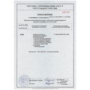 Приложение к сертификату — рольставни