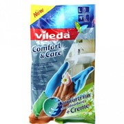Перчатки Vileda Комфорт с кремом для чувствительной кожи рук, размер L фото