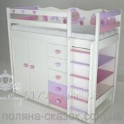 Кровать-чердак детская Золушка Pink/cream. фото
