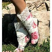 Сапоги тканевые Розы + кружево фото