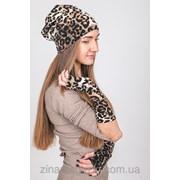 Шапка + нарукавники леопард фото