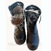 Ботинки хромовые с высокими берцами утеплитель натуральный мех фото