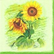 Салфетка для декупажа Два подсолнуха на зелёном фоне фото