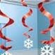 Спираль фольг Снежинка кр/сер 60см 5шт/уп фото