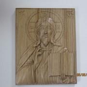 Деревянная резная икона Господь Вседержитель (размеры 270х215х30, дерево-ясень) фото