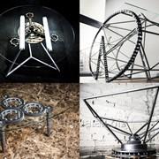 Дизайнерские столы ручной работы из автомобильных запчастей фото