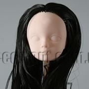 Голова куклы 4,5 см с черными волосами 25см без челки 5564 фото