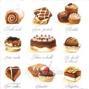 Салфетка для декупажа Шоколадные пирожные фото