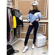 Спортивный костюм женской (3 цвета) РО/-2332 - Черный/голубой фото