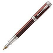 Parker Перьевая ручка Parker Duofold Prestige Centennial Burgundy Chevron CT,F, золото 18К, родий Цвет корпуса Бордово-серебристый фото