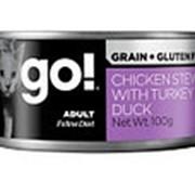 GO! 100г Влажный беззерновой корм для взрослых кошек Тушеная курица, индейка и мясо утки фото