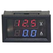 Ампервольтметр, 45х25мм, DC 0-100V, 10A, красный и синий фото