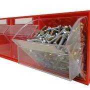 Короб откидной FOX-105 (600 х 214 х 240h)мм, 3 ячейки, красный / прозрачный фото