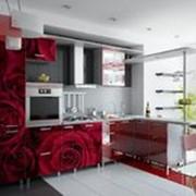 Кухня с фотофасадом (красные розы) фото