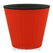 Кашпо Ибис с двойным дном 15,7*13см 1,6л Красный, черный фото