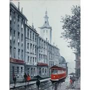 Картина маслом Черно-белый город фото