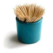 Зубочистки бамбук 200 штук в круглой твёрдой коробке фото