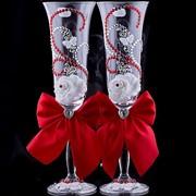 Свадебные бокалы красные (2 шт.) фото
