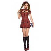 Красный клетчатый костюм школьницы ML-25071 фото