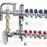 Сборный регулирующий узел для напольного отопления, с терморегулирующими и запорными вентилями, 6 отводов, в коллекторном шкафу, отводы Евроконус, артикул FK 3485 13406 фото
