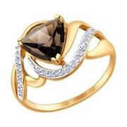 Кольцо из золота с раухтопазом и фианитами (714725) фото